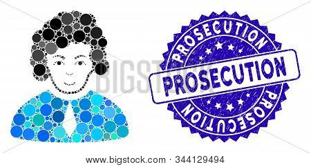 Mosaic Judge Icon And Rubber Stamp Seal With Prosecution Text. Mosaic Vector Is Composed With Judge