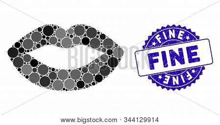 Mosaic Lips Kiss Smiley Icon And Grunge Stamp Seal With Fine Text. Mosaic Vector Is Created With Lip