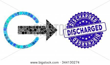 Mosaic Logout Icon And Distressed Stamp Watermark With Discharged Caption. Mosaic Vector Is Designed