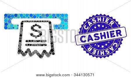 Mosaic Cashier Receipt Icon And Corroded Stamp Seal With Cashier Caption. Mosaic Vector Is Created W