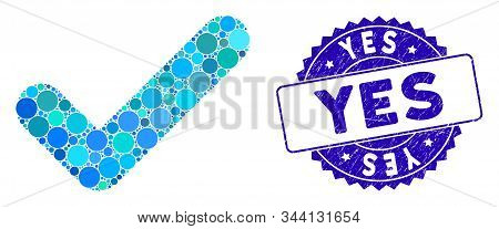 Mosaic Yes Icon And Corroded Stamp Seal With Yes Caption. Mosaic Vector Is Designed With Yes Pictogr