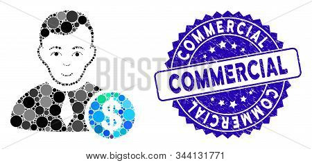 Mosaic Commercial Lawyer Icon And Distressed Stamp Seal With Commercial Caption. Mosaic Vector Is Cr