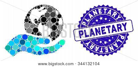 Mosaic Earth Care Icon And Distressed Stamp Seal With Planetary Phrase. Mosaic Vector Is Composed Wi