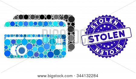 Collage Bank Cards Icon And Corroded Stamp Seal With Stolen Text. Mosaic Vector Is Formed With Bank