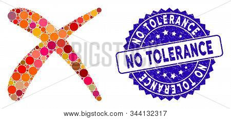 Mosaic Erase Icon And Rubber Stamp Seal With No Tolerance Text. Mosaic Vector Is Created With Erase