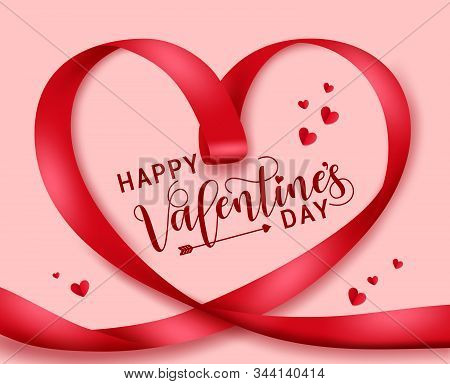 Valentines Heart Lasso Vector Concept. Happy Valentines Day Greeting Text In Red Heart Shape Shinny
