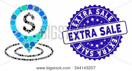 Mosaic Bank Place Icon And Distressed Stamp Seal With Extra Sale Text. Mosaic Vector Is Created With