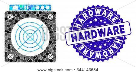 Collage Mining Asic Hardware Icon And Distressed Stamp Seal With Hardware Text. Mosaic Vector Is Com