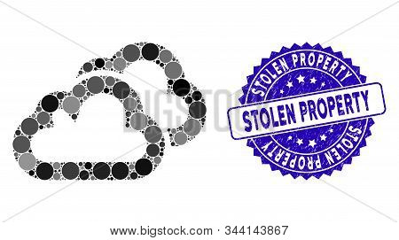 Mosaic Clouds Icon And Rubber Stamp Watermark With Stolen Property Caption. Mosaic Vector Is Designe
