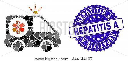Mosaic Ambulance Car Icon And Corroded Stamp Seal With Hepatitis A Phrase. Mosaic Vector Is Formed F