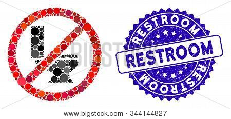 Mosaic No Toilet Bowl Icon And Rubber Stamp Seal With Restroom Caption. Mosaic Vector Is Designed Fr