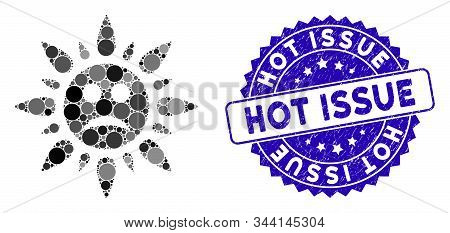Mosaic Sad Sun Light Icon And Grunge Stamp Seal With Hot Issue Text. Mosaic Vector Is Created With S