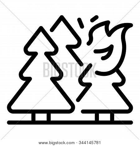 Mountain Forest Wildfire Icon. Outline Mountain Forest Wildfire Vector Icon For Web Design Isolated