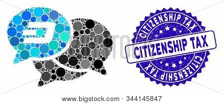 Mosaic Dash Webinar Icon And Distressed Stamp Seal With Citizenship Tax Caption. Mosaic Vector Is Fo