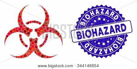 Mosaic Biohazard Symbol Icon And Grunge Stamp Watermark With Biohazard Text. Mosaic Vector Is Create
