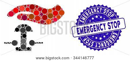 Mosaic Emergency Stop Icon And Grunge Stamp Seal With Emergency Stop Text. Mosaic Vector Is Formed W