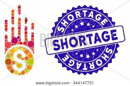 Mosaic Rush Falling Dollar Icon And Corroded Stamp Seal With Shortage Phrase. Mosaic Vector Is Compo