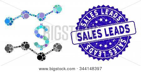 Mosaic Financial Trends Icon And Grunge Stamp Seal With Sales Leads Phrase. Mosaic Vector Is Compose