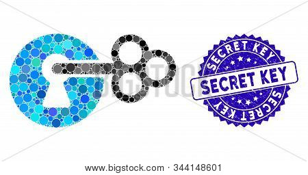 Mosaic Secret Key Icon And Rubber Stamp Watermark With Secret Key Phrase. Mosaic Vector Is Composed
