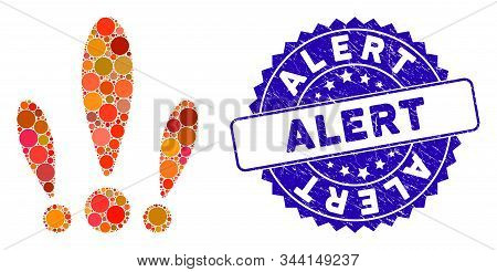 Mosaic Alert Icon And Grunge Stamp Watermark With Alert Phrase. Mosaic Vector Is Designed With Alert