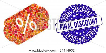 Collage Discount Label Icon And Rubber Stamp Seal With Final Discount Phrase. Mosaic Vector Is Forme