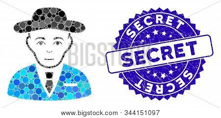 Mosaic Secret Service Agent Icon And Corroded Stamp Seal With Secret Phrase. Mosaic Vector Is Formed