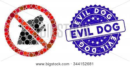 Collage No Werewolf Icon And Grunge Stamp Seal With Evil Dog Text. Mosaic Vector Is Designed With No