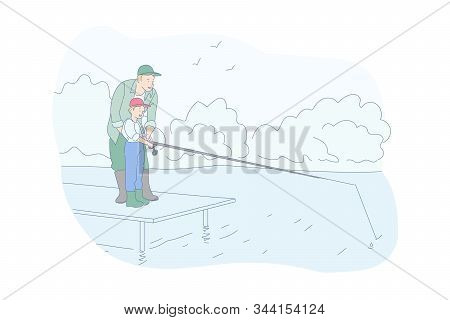 Fishing, Family Rest, Recreation Concept. Hobby, Teaching Child To Fish, Father And Son Taking Fish