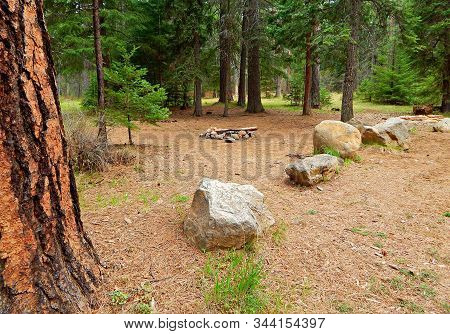 Primitive Camping - A Campsite In The Jack Creek Campground Overflow Area - Near Camp Sherman, Or