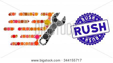 Mosaic Rush Wrench Icon And Rubber Stamp Seal With Rush Phrase. Mosaic Vector Is Created With Rush W