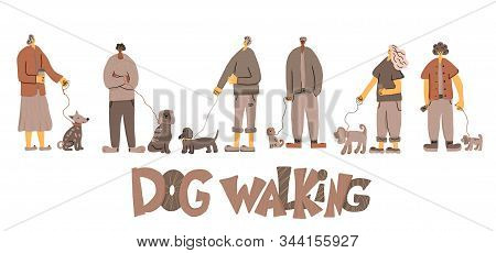 Dog Walking. People Walking With Pets Collection. Young Persons Keeps The Dogs On The Leash. Vector