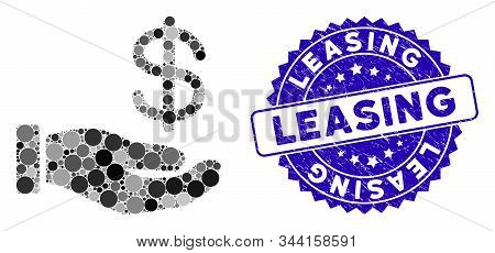 Mosaic Dollar Payment Hand Icon And Grunge Stamp Seal With Leasing Phrase. Mosaic Vector Is Created