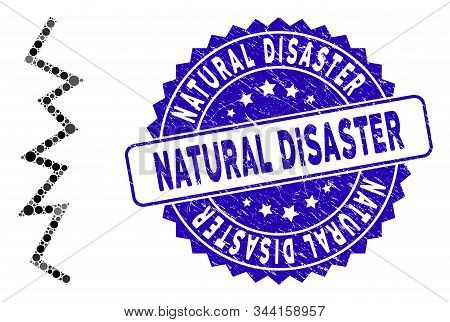 Mosaic Zigzag Line Icon And Grunge Stamp Seal With Natural Disaster Phrase. Mosaic Vector Is Formed