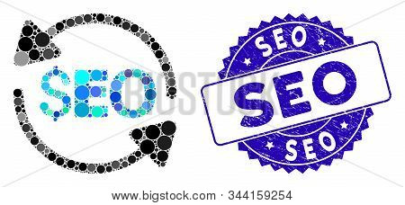 Mosaic Update Seo Icon And Rubber Stamp Seal With Seo Text. Mosaic Vector Is Formed With Update Seo