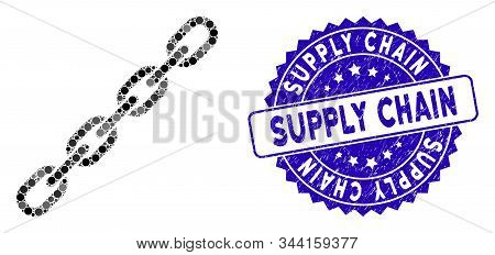 Mosaic Chain Icon And Distressed Stamp Seal With Supply Chain Caption. Mosaic Vector Is Formed With