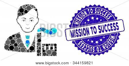 Mosaic Capitalist Oligarch Icon And Distressed Stamp Seal With Mission To Success Caption. Mosaic Ve