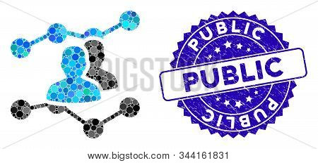 Collage Audience Trends Icon And Corroded Stamp Seal With Public Text. Mosaic Vector Is Composed Wit