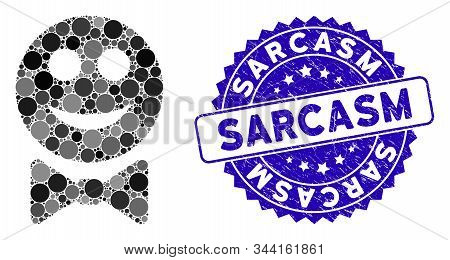 Mosaic Glad Waiter Icon And Rubber Stamp Watermark With Sarcasm Caption. Mosaic Vector Is Composed W