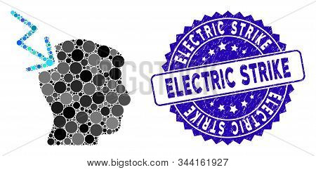 Mosaic Head Electric Strike Icon And Grunge Stamp Seal With Electric Strike Caption. Mosaic Vector I