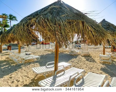View Of Palm Beach On The Caribbean Island Of Aruba. Many Hotels, Including The Hyatt Regency Aruba