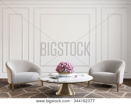 Classic White Interior With Armchairs, Coffee Table, Flowers And Wall Moldings. 3d Render Illustrati