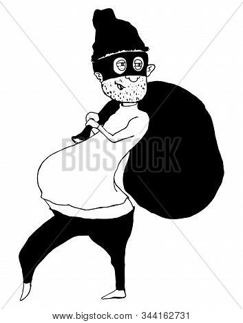 Thief In Mask And Hat Stealing Big Bag. Funny Cartoon Character. Vector Illustration