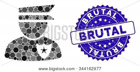 Collage Policeman Icon And Rubber Stamp Seal With Brutal Text. Mosaic Vector Is Designed With Police