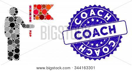 Mosaic Commander With Flag Icon And Rubber Stamp Watermark With Coach Phrase. Mosaic Vector Is Forme