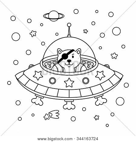Alien Cat Pirate In A Spaceship In A Star Galaxy. Cute Cosmonaut Cat In Outer Space. Vector Outline