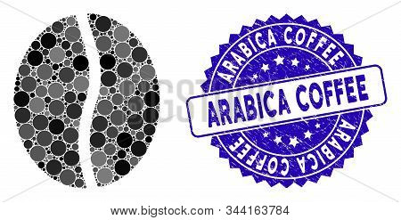 Mosaic Coffee Bean Icon And Rubber Stamp Seal With Arabica Coffee Caption. Mosaic Vector Is Designed