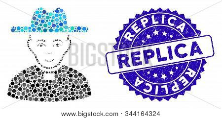 Mosaic Catholic Priest Icon And Rubber Stamp Seal With Replica Phrase. Mosaic Vector Is Created With