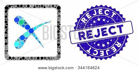 Collage Reject Icon And Corroded Stamp Seal With Reject Text. Mosaic Vector Is Formed With Reject Ic