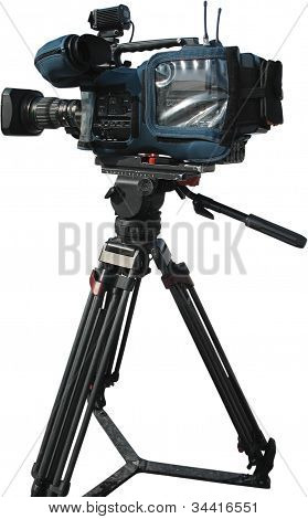 Tv Professional Digital Video Camera On Tripod