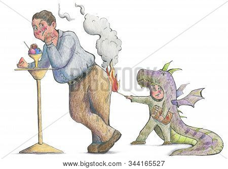 Boy In Dragon Costume Playing With Matches And Trying To Set Fire To A Man. Funny Cartoon Characters